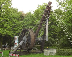 Reconstruction of a 10.4m high Roman Polyspastos powered by a treadwheel at Bonn, Germany